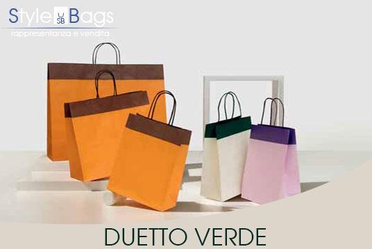 Shopper in Carta Maniglia Ritorta Duetto colore Verde