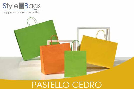 Shopper in Carta Maniglia Ritorta Pastello colore Cedro