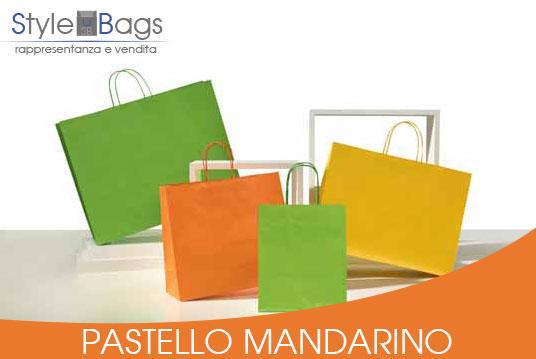 Shopper in Carta Maniglia Ritorta Pastello colore Mandarino