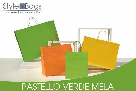Shopper in Carta Maniglia Ritorta Pastello colore Verde Mela