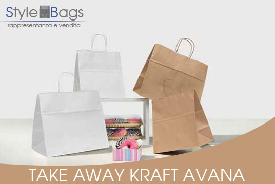 Shopper in Carta Maniglia Ritorta Take Away Kraft Avana