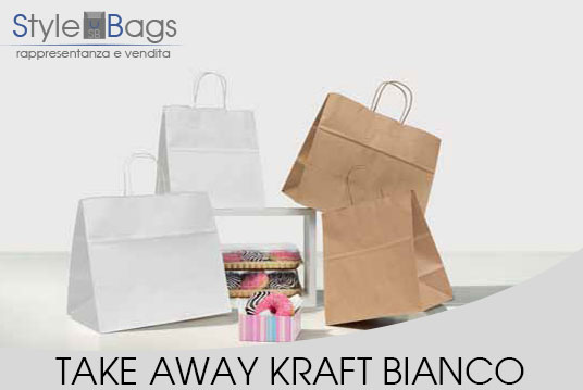 Shopper in Carta Maniglia Ritorta Take Away Kraft Bianco