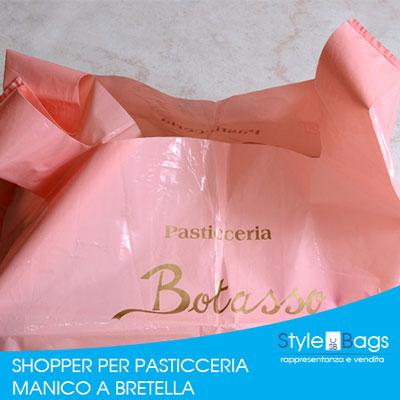 Shopper in Plastica Manico a Bretella Linea Pasticceria