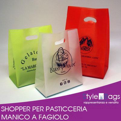 Shopper in Plastica Manico a Fagiolo Linea Pasticceria