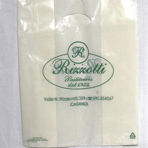Shopper in Plastica per Pasticceria Manico Fagiolo Colore Bianco